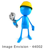 #44002 Royalty-Free (Rf) Illustration Of A 3d Blue Man Builder Mascot Holding A Wrench - Version 1