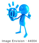#44004 Royalty-Free (Rf) Illustration Of A 3d Blue Man Mascot Holding An At Symbol - Version 2