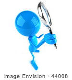 #44008 Royalty-Free (Rf) Illustration Of A 3d Blue Man Mascot Using A Magnifying Glass - Version 5