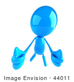 #44011 Royalty-Free (Rf) Illustration Of A 3d Blue Man Mascot Holding Two Thumbs Up