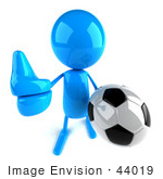 #44019 Royalty-Free (Rf) Illustration Of A 3d Blue Man Mascot Playing Soccer - Version 3