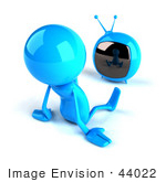 #44022 Royalty-Free (Rf) Illustration Of A 3d Blue Man Mascot Watching Television - Version 2
