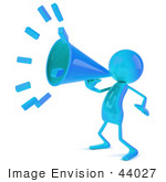 #44027 Royalty-Free (Rf) Illustration Of A 3d Blue Man Mascot Using A Megaphone - Version 1