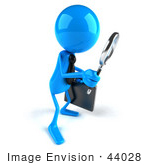 #44028 Royalty-Free (Rf) Illustration Of A 3d Blue Man Mascot Using A Magnifying Glass - Version 1