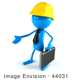 #44031 Royalty-Free (Rf) Illustration Of A 3d Blue Man Mascot Contractor Reaching Out To Shake Hands - Version 2