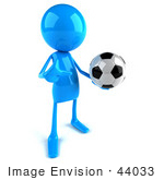 #44033 Royalty-Free (Rf) Illustration Of A 3d Blue Man Mascot Playing Soccer - Version 2