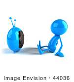 #44036 Royalty-Free (Rf) Illustration Of A 3d Blue Man Mascot Watching Television - Version 1