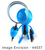 #44037 Royalty-Free (Rf) Illustration Of A 3d Blue Man Mascot Using A Magnifying Glass - Version 2