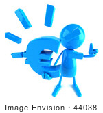 #44038 Royalty-Free (Rf) Illustration Of A 3d Blue Man Mascot Holding A Euro Symbol - Version 3