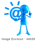 #44039 Royalty-Free (Rf) Illustration Of A 3d Blue Man Mascot Holding An At Symbol - Version 1