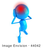 #44042 Royalty-Free (Rf) Illustration Of A 3d Blue Man Mascot With A Migraine