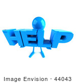 #44043 Royalty-Free (Rf) Illustration Of A 3d Blue Man Mascot Holding Help - Version 3