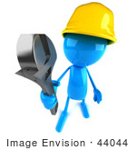 #44044 Royalty-Free (Rf) Illustration Of A 3d Blue Man Builder Mascot Holding A Wrench - Version 3