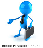 #44045 Royalty-Free (Rf) Illustration Of A 3d Blue Man Mascot Carrying A Briefcase And Reaching Out To Shake Hands - Version 2