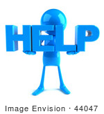 #44047 Royalty-Free (Rf) Illustration Of A 3d Blue Man Mascot Holding Help - Version 1