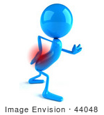 #44048 Royalty-Free (Rf) Illustration Of A 3d Blue Man Mascot With Lower Back Pain - Version 1