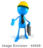 #44049 Royalty-Free (Rf) Illustration Of A 3d Blue Man Mascot Contractor Reaching Out To Shake Hands - Version 1