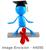 #44050 Royalty-Free (Rf) Illustration Of A 3d Blue Man Mascot Standing On A Diploma