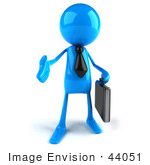 #44051 Royalty-Free (Rf) Illustration Of A 3d Blue Man Mascot Carrying A Briefcase And Reaching Out To Shake Hands - Version 1