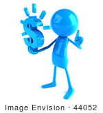 #44052 Royalty-Free (Rf) Illustration Of A 3d Blue Man Mascot Holding A Dollar Symbol - Version 2