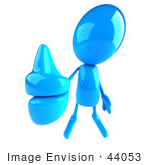 #44053 Royalty-Free (Rf) Illustration Of A 3d Blue Man Mascot Giving The Thumbs Up