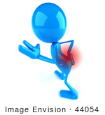 #44054 Royalty-Free (Rf) Illustration Of A 3d Blue Man Mascot With Lower Back Pain - Version 3