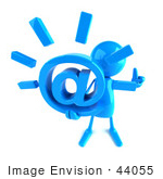 #44055 Royalty-Free (Rf) Illustration Of A 3d Blue Man Mascot Holding An At Symbol - Version 3