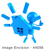 #44056 Royalty-Free (Rf) Illustration Of A 3d Blue Man Mascot Holding A House - Version 3