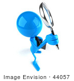 #44057 Royalty-Free (Rf) Illustration Of A 3d Blue Man Mascot Using A Magnifying Glass - Version 3