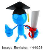 #44058 Royalty-Free (Rf) Illustration Of A 3d Blue Man Mascot Graduate Holding His Diploma - Version 4