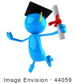 #44059 Royalty-Free (Rf) Illustration Of A 3d Blue Man Mascot Graduate Holding His Diploma - Version 3