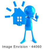 #44060 Royalty-Free (Rf) Illustration Of A 3d Blue Man Mascot Holding A House - Version 1