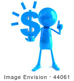 #44061 Royalty-Free (Rf) Illustration Of A 3d Blue Man Mascot Holding A Dollar Symbol - Version 1