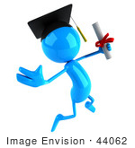 #44062 Royalty-Free (Rf) Illustration Of A 3d Blue Man Mascot Graduate Holding His Diploma - Version 2
