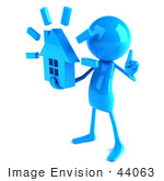 #44063 Royalty-Free (Rf) Illustration Of A 3d Blue Man Mascot Holding A House - Version 2