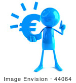 #44064 Royalty-Free (Rf) Illustration Of A 3d Blue Man Mascot Holding A Euro Symbol - Version 1