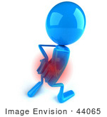 #44065 Royalty-Free (Rf) Illustration Of A 3d Blue Man Mascot With Lower Back Pain - Version 4