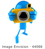 #44066 Royalty-Free (Rf) Illustration Of A 3d Blue Man Mascot Taking Pictures With A Camera - Version 2