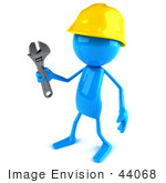 #44068 Royalty-Free (Rf) Illustration Of A 3d Blue Man Builder Mascot Holding A Wrench - Version 2