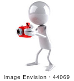 #44069 Royalty-Free (Rf) Illustration Of A 3d White Man Mascot Taking Pictures With A Camera - Version 2