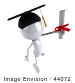#44072 Royalty-Free (Rf) Illustration Of A 3d White Man Mascot Graduate Holding A Diploma - Version 8