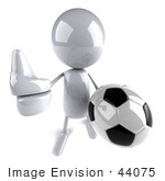 #44075 Royalty-Free (Rf) Illustration Of A 3d White Man Mascot Playing Soccer - Version 3