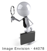 #44078 Royalty-Free (Rf) Illustration Of A 3d White Man Mascot Using A Magnifying Glass - Version 2