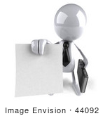 #44092 Royalty-Free (Rf) Illustration Of A 3d White Man Mascot Holding A Contract - Version 3