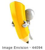 #44094 Royalty-Free (Rf) Illustration Of A 3d White Man Mascot Holding A Large Pencil - Version 5