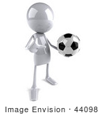 #44098 Royalty-Free (Rf) Illustration Of A 3d White Man Mascot Playing Soccer - Version 2