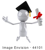 #44101 Royalty-Free (Rf) Illustration Of A 3d White Man Mascot Graduate Holding A Diploma - Version 4