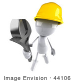 #44106 Royalty-Free (Rf) Illustration Of A 3d White Man Mascot Construction Worker Holding A Wrench - Version 3
