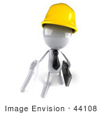 #44108 Royalty-Free (Rf) Illustration Of A 3d White Man Contractor Mascot Reaching Out To Shake Hands - Version 3