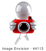#44113 Royalty-Free (Rf) Illustration Of A 3d White Man Mascot Taking Pictures With A Camera - Version 4